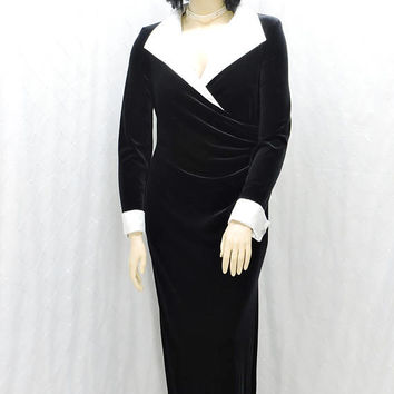 Black formal evening dress / size XL / black velvet maxi dress / size 14 / 16 / black / white evening gown / 80s sexy long black dress