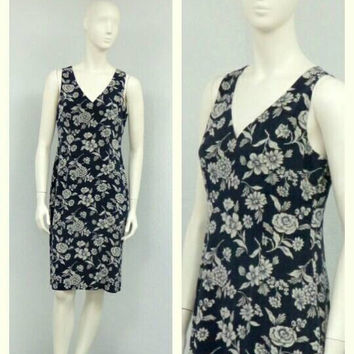 Vintage 90s Ralph Lauren Midnight Blue Silk Dress, Floral Dress, Sheath Dress, Knee Length Dress, Sleeveless Dress, Summer Dress