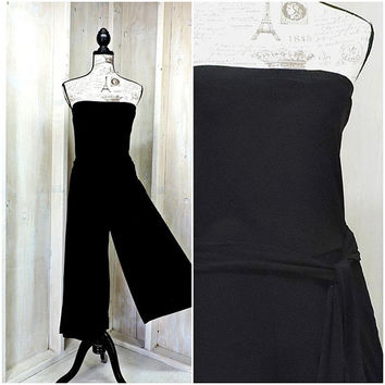 Black strapless bandeau jumpsuit /  90s Palazzo pants romper / size S / M / ties at waist / body contouring