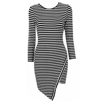Europe Style Fashion striped long-sleeved dress classic