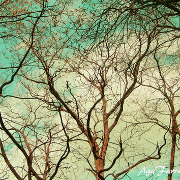 Turquoise and Yellow Art, Tree Photography, Summer Print, Dreamy Nature Photo, Tree Branch Art - In Branches