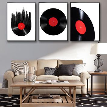 DJ Collection-Classical Vinyl Records Art Canvas Poster Modern Minimalist Living Room Home Decor Painting Background (No Frame)