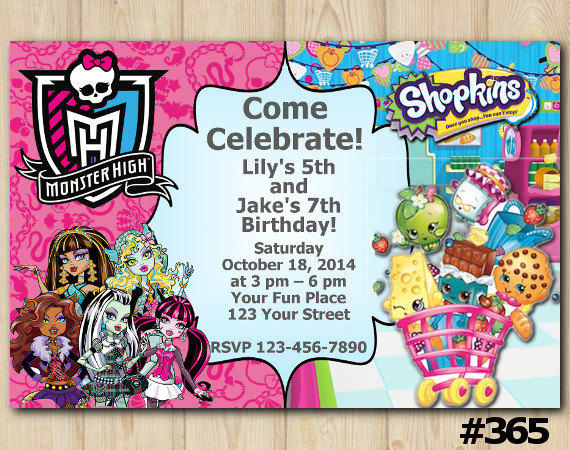 TWINS BIRTHDAY INVITATION Monster High from EventsPrintables on – Monster High Birthday Invites