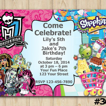 TWINS BIRTHDAY INVITATION Monster High / Shopkins, Double Birthday, Twin Party, Sibling Birthday (#365)