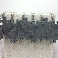 Puzzle Pieces Interlocking Necklaces 12 piece Set Silver polymer Clay