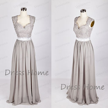 Newest Grey Long Lace Bridesmaid Dress/A Line Chiffon Prom Dress/Wedding Party Dresses/Cap Sleeve Floor Length Bridesmaid Dress DH218