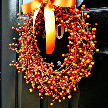 Orange Berry Wreath Fall Wreath Pumpkin Pie Silk Bow