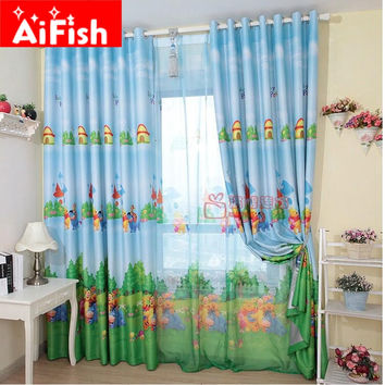Blue Color American Style Cartoon Character Bear Curtains for Bedroom Children Custom Fabric Blind cortina infantil AF005-20