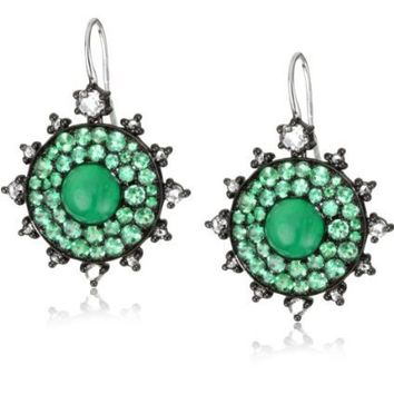 "Nam Cho ""Bull's Eye"" Neon Green Emerald Earrings in 18k - designer shoes, handbags, jewelry, watches, and fashion accessories 