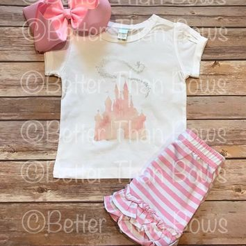 Girls Pink Magical Castle Short Set with Option To Personalize and Purchase Separates Semi RTS