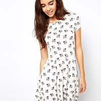 ASOS Skater Dress With Pug Print at asos.com