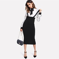 High Waist Slit Back Pencil Skirt With Strap Knee Length Plain Zipper Skirt Women Elegant Midi Skirt