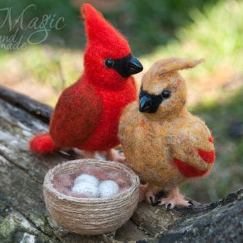 Felted cardinal, felt bird, wool toy, small felted animal, spring gift, for her, bird nest