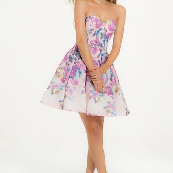 3D Floral Print Short Party Dress from Camille La Vie and Group USA