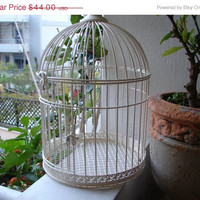 50% OFF EVERYTHING shabby chic,vintage ivory wire bird cage-Victorian style-door & top opening so can put large items inside