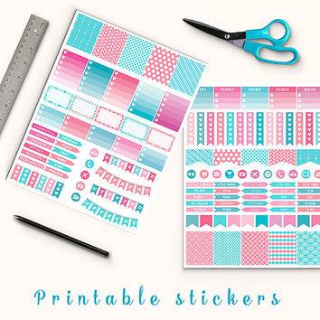 50% OFF SALE Pink And Turquise Planner Stickers Printable Stickers Erin Condren Mambi Box Stickers Page Flags Weekend Banners To Do Stickers