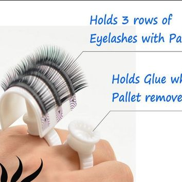 Glue Ring Strip Eyelash Holder Eyelash Extensions Pallet Set