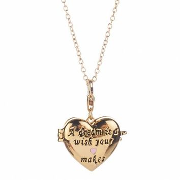 14Kt Gold Plated Cinderella Dream Is A Wish Your Heart Makes Locket Charm And Necklace From Disney Couture : TruffleShuffle.com