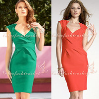 Womens Vintage Elegant Bodycon Stretch Fitted Shift Party Pencil Mini Dress 1088