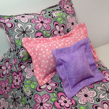 "Doll Bedding for 18"" dolls,  Comforter with three pillows, grey fabric, pink flowers, pink polka dots, little girl gift"