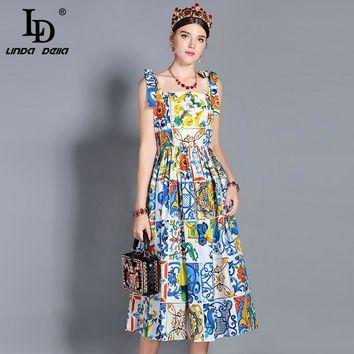 b532a712ad0183 LD LINDA DELLA New 2019 Fashion Runway Summer Dress Women Bow Sp