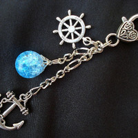 Nautical Anchor Bright Fried Marble Rudder Blue Love Keychain