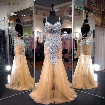 Long Prom Dresses 2018 Gorgeous Mermaid Sweetheart Beaded Crystals Floor Length African Champagne Prom Dress Party
