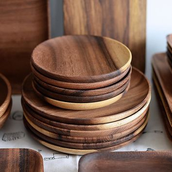 Acacia Wood Round Tableware Plates