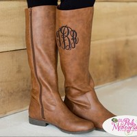 Monogrammed Boots in Brown