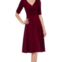 Pleated Jersey Sheath Dress