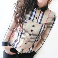 Burberry New fashion plaid stripe long sleeve top shirt women
