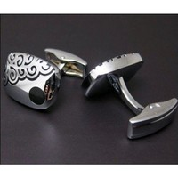 Silver Rectangle Cufflinks with Black Clouds Design - Rectangle Cufflinks - Cufflinks by Shape