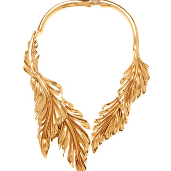 Oscar De La Renta Large Leaf Necklace - Gold Collar Necklace - ShopBAZAAR