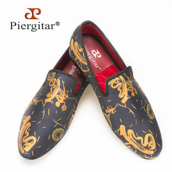New style Handmade Men Abstract paintings shoes Fashion Men smoking slippers Prom and Banquet men men's flats