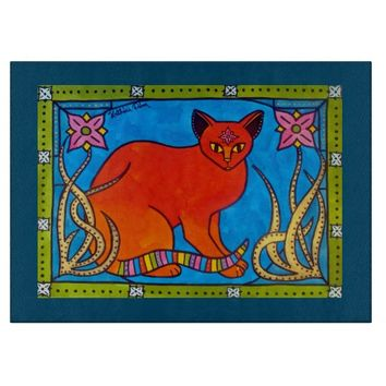Indian Cat With Lilies Colorful Cat Design Cutting Board