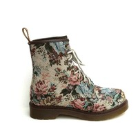 Dr. Airwair Martens – Castel Tapestry Needlepoint Ankle Boot In Beige/Multi | Thirteen Vintage