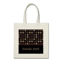 Maroon Tan Polka Dot Black Personalized Tote Bag