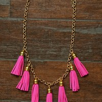 Tassel Necklaces Gold Pink Blue Shop Simply Me Boutique – Simply Me Boutique
