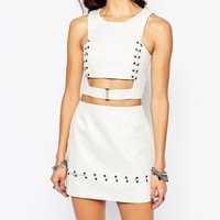 The Laden Showroom X Rok & Rebelle Crop Top with Eyelet and Jumpring Detail