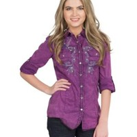 Roar Women's Fruition Purple Flourish Stitched Embroidery Western Shirt