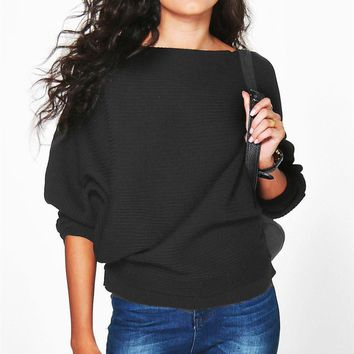 Women Casual Solid Color Knit Scoop Neck Long Sleeve Loose blouse top
