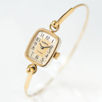 Tiny watch bracelet Chaika\ Seagull - gold plated cocktail watch - women watch rectangular - ornamented face watch gift - small wrist watch