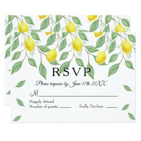 Modern Lemon Boho Summer Wedding RSVP Card