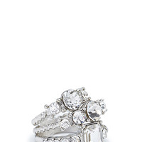 FOREVER 21 Faux Gem Midi Ring Set Silver/Clear