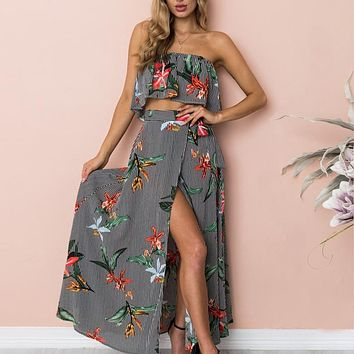 Women beach dress off shoulder Floral print party dress maxi Slash neck long dress ruffle striped vestidos