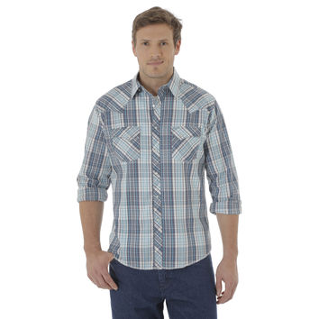 Wrangler Mens Rancher Fashion Snap Long Sleeve Shirt