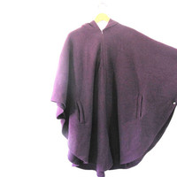 vintage cozy fleece CAPE coat / women's purple poncho with hood