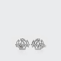 Peony Stud Earrings - silver