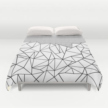 Abstract Outline Grid Black on White Duvet Cover by Project M