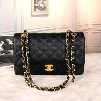 LMFON Chanel' Women Temperament Simple Fashion Quilted Metal Chain Single Shoulder Messenger Bag Handbag